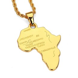 Wholesale Personalized Silver Initial Necklace - Africa Map Pendant Necklace For Women Men Silver Gold Color Ethiopian Jewelry Wholesale Personalized Hip Hop Jewelry Accessories
