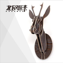 Wholesale Garden Furniture Wooden - Creative home decorations,3D wooden deer elk moose head wall hanging ornament,personalized animal,Nordic style garden furniture