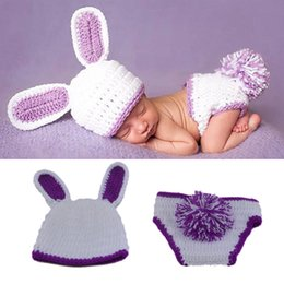 Wholesale Crochet Hats For Girls - White and Purple Baby Girls Rabbit Outfits Knitted Newborn Clothing Set Photo Props Crochet Animal Hat For Girls Winter