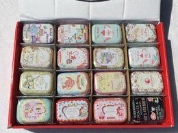 Wholesale Tea Tin Favor - 32Pcs lot Tea Pot Candy Box  tin gift box  Travel Pill Case Square Collectables Tin Boxes Tea Party