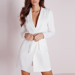 Wholesale White Elegant Cardigans - New Women Dress Vestidos Solid White High Waist Casual Slim OL Dresses Sexy Plunge Neck Elegant Blazer Mini Dress