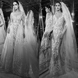 Wholesale Zuhair Murad Lace Bodice - 2017 Zuhair Murad Beads Mermaid Wedding Dresses Detachable Train Long Sleeve Full Lace Bridal Gowns Sexy Illusion Bodice Wedding Dress