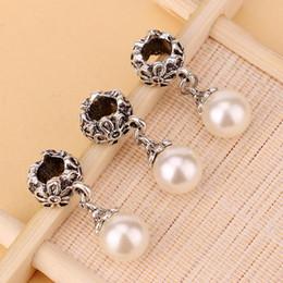Wholesale European Dangle Pearl - HOT SALE: 100pcs Fake Pearl Pandora Alloy DIY Round Dangle Bead Pendant Fit Charm European Bracelet