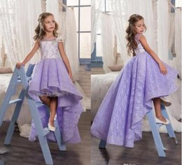 Wholesale Lavender Flower Girl Baby Dresses - 2017 Cute Lilac Lace High Low Flower Girl Dresses For Weddings Lavender Girls Pageant Gowns Baby Prom Party Dresses Custom Made