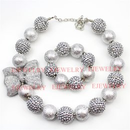 Wholesale Big Chunky Fashion Jewelry - fashion jewelry silver bowknot pendant big wrinklel&rhinestone beads chunky girl bubblegum kids Necklace&bracelet set