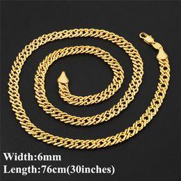 желтое золото 18 k ожерелье Скидка Европа и Америка Hotsale 6 мм 30inches 18K настоящее желтое золото покрытием Мужчины Женщины ожерелье цепь для партии свадьба
