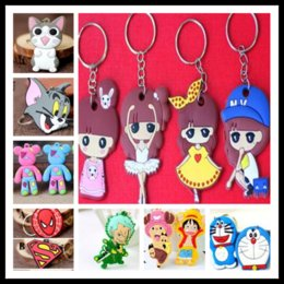 Wholesale Wholesale Keychains Cheap - Cheap 24 Kinds Silicone Cartoon Keychains Avengers One Piece Pokonyan keychains Free Shipping by DHL