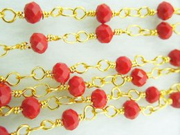 Wholesale Chains Meters Gold - Wholesale 1 Meter Spinel Rosary Style Wire Wrapped Beaded Chain,Faceted Crystal Roundel in Red Color Beads Size 3*4mm Jewelry Making