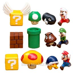 Wholesale Action Games Boys - 12pcs Super Mario Bros Luigi Game Toy Figures Set yoshi Mario Bross PVC Miniatures Action Figure Kids Toys For Boys Gift