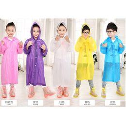Wholesale Kids Rain Cover - Age 6-12 Kids Hooded Jacket Rain Poncho Raincoat Cover Long Rainwear Solid Lightweight Children's Rain Suit