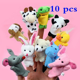 Wholesale Teddy Bear Finger Puppets - 10pcs Cartoon Biological Animal Finger Puppet Plush Toys Child Baby Favor Dolls Baby Kids Children Gift Toy Free Shipping