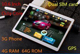 Wholesale Gps Storage - 10.6 inch tablet, MTK8382 chip, Octa core processors, IPS screen, 4G RAM + 64GB ROM storage,3G Phone, dual SIM card, call 64GB memory card