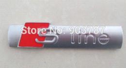 autocollant noir mat Promotion 5pcs 3D Metal Matt chrome SLINE S Line EMBLEM noir / chrome argent voiture top grade autocollant BADGE en gros