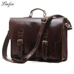 """Wholesale leather computer sleeve - Wholesale- Men's genuine leather briefcase fit 15"""" Laptop with Removable PC sleeve Vintage cowhide PC shoulder bag leather business bag"""