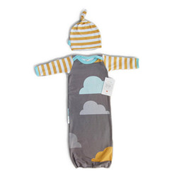 Wholesale Clouds Clothing - Sleeping Baby Bags Air conditioning, anti Tipi Sets Clouds Printed Bedding Swaddle Warm Wrap Sleeping Sack With Hat New