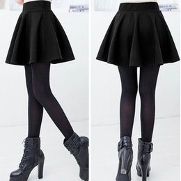 Wholesale Skater Skirts Wholesale - Wholesale- Fashion Unique Cotton Blend Women's Stretch Waist Plain Skater Flared Pleated Mini Skirt High Waist Causal Skirts 2017 New Hot