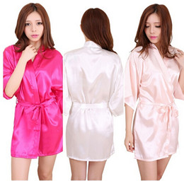 Wholesale Satin Night Gowns For Women - Wholesale-RB030 Sexy Large Size Sexy Satin Night Robe Lace Bathrobe Perfect Wedding Bride Bridesmaid Robes Dressing Gown For Women