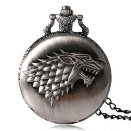 Wholesale Silver House Pendant - 2018 Hot Watches Tone Honorable Stark House Wolf Quartz Pocket Watch Pendant Winter is Coming Game Women Man Necklace with Chain Gifts