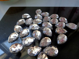 Wholesale Loose Drop Crystal - Big stones100pcs 13*18mm Drop Acrylic Crystal sew on silver Colour loose Beads hand sewing for dress