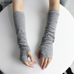 Wholesale Grey Gloves Cotton Long - Wholesale- 1 Pair Stretchy Women Winter Long Fingerless Gloves Wrist Arm Hand Warmer Knitted Mittens For Girls Light Grey Chenmanfengcai