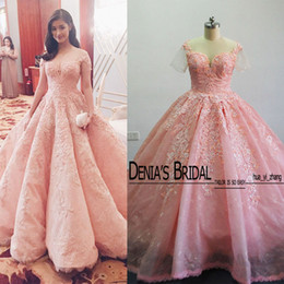 Wholesale Simple Flower Sash - Luxury Ball Gown Wedding Dresses Enrique Gil Jacy Kay Real Images Appliques Beaded Sheer Short Sleeves Bridal Gowns with Cathedral Train