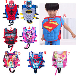 Wholesale Baby Swim Life Jackets - Baby Life jackets Vests batman superman spiderman princess KT drifting vest children swimming life vest kid Rafting life jacket