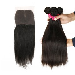 Wholesale Wholesale Malaysia Hair - 7A Brazilian Hair Straight 3pcs with 1Top Lace Closure 100% Natural Human Hair Extensions Brazilian Peruvian Malaysia Mongolian Hair Bundles
