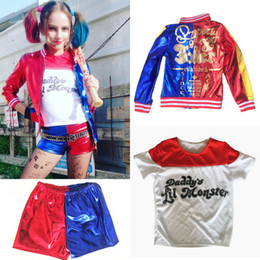 Wholesale Clown Cosplay - Kid's Suicide Squad Harley Quinn Cosplay Costume Outfit Full Set Halloween Children Christmas Gift Jacket