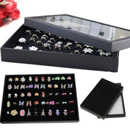 Wholesale Earring Jewelry Displays - 100 pcs Rings Jewellery Display Storage Box Tray Show Case Organiser Earrings Holder in black color