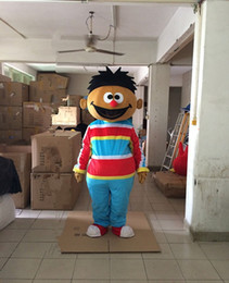 Wholesale Cartoon Mascot Boy - Factory made Sesame Street Boys Cartoon costume Sesame Street Boys mascot costume With Bright Big Eyes Small Ears Red Blue Grid Shirt
