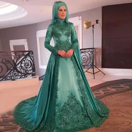 Wholesale Muslim Sequin Dresses - Hunter Green Muslim Evening Dresses High Neck Long Sleeves Appliques Sequins Beaded Satin Hijab Prom Dresses Saudi Arabic Evening Gowns