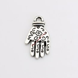 Wholesale Silver Handmade Hand Charm - 20pcs Antique Silver Plated Hand Glove Charms Pendants for Necklace Jewelry Making DIY Handmade Craft 24x14mm