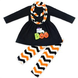 Wholesale Wholesale Kids Costume Scarves - Halloween clothe costumes Kid Pumpkin Ghost Outfits Dress Top + wave pant+ scarf Three-piece set 2017 New
