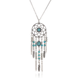 Wholesale Ethnic Pendant Necklace - Dreamcatcher Leaf Wing Charms Necklace Turquoise Beads Tassel Pendant Boho Necklace Ethnic Bohemia Jewelry Statement Long Necklace