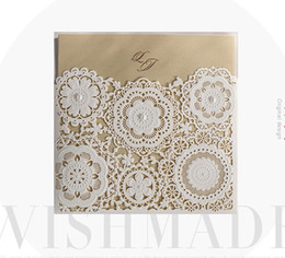Wholesale Wholesale Pearl Invitation Buckle - Gold inner white Pearls elegant flower laser cut wedding invitations cards hollow personalized Engagement invitation cards with envelope
