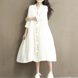 Wholesale Korean White Dresses - Spring autumn women fashion boho long shirt dress cotton & linen bohemian dress ladies casual korean blue white party dresses