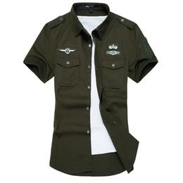Al por mayor-Nueva camisa de los hombres del verano de algodón de alta calidad de manga corta camisetas camisa de vestir del ejército para hombre camisas ropa informal masculina M-6XL desde fabricantes