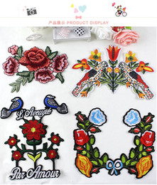 Wholesale Decorative Iron Patches - 2pcs lot flower bird embroidered sew on iron on large patch for clothing retro clothes decorative diy accessories appliqued patch472