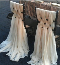 Wholesale Chiffon Chair Sashes - New Arrival 30D Chiffon Ivory Chair Sashes for Wedding Party 6 Piece Set Width 1.5M Length 2M