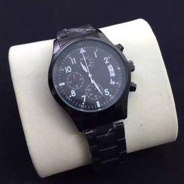 Wholesale Black Pilot Watch - 2016 Pilot Luxury Watch Men Watches Stopwatch Top Brand Subdials Working Dial Stainless steel band Quartz Wristwatch for Men gift reloj