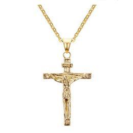 Deutschland Jesus Piece Anhänger Christian Schmuck Geschenk Großhandel Vintage Edelstahl / 18K Gold Plated Kette Kreuz Halskette Männer Versorgung