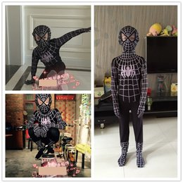 Wholesale Children Sporty Suit - spiderman costume Lycra Spandex Black Spiderman Costume Kids Adult Child Venom Spider-Man Cosplay Zentai Suit Halloween Jumpsuit C60147