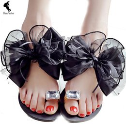 Wholesale Comfort Flip Flops - Shoes Schoolgirl Sandals European Rubber Daily Bow Comfort Flats Latex Student Beading Beach Lighted Gray Black Shipping Walking Summer