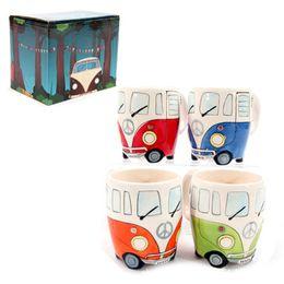 Wholesale Hand Painted Coffee Mugs - 2017 New Creative Cartoon Double Bus Mugs Hand Painting Retro Ceramic Cup Coffee Milk Tea Mug Drinkware Novel Gifts Top Quality