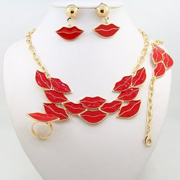 Wholesale Lip Necklace Jewelry - 2016 New Lip shape jewelry set including necklaces earrings rings bracelets and four sets of fine jewelry