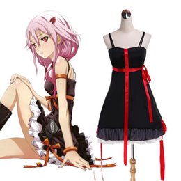Wholesale Inori Yuzuriha Cosplay - Japanese Anime Cosplay Guilty Crown Inori Yuzuriha Cosplay Costume Black Dress Lolita Dress Halloween Costumes for Women