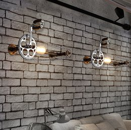 Wholesale Wholesale Iron Pipes - New Bicycle Gear Chain Wall Lamps Industrial Style Iron Art Wall Light Loft Cafes Corridor Retro Water Pipe Wall Lamp E27 Edison Bulb Light