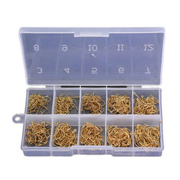 Wholesale Set Sea Fishing - New 500pcs Set Total 10 Sizes Fresh Water Sea Fly Fish Fishing Tackle Hooks with Box High Quality order<$18no track