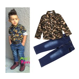 Wholesale Kid Boy Denim Shirt Wholesale - PrettyBaby 2016 New Kids Clothes Set Spring Baby Boy Set Kids Long Sleeve Camouflage Shirts Denim Pants Trousers Jeans free shipping