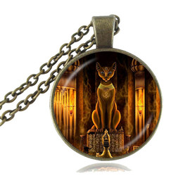 Wholesale Women Statue - Ancient Egyptian Cat Goddess Statue Necklace Egypt Lord Pendant Handmade Glass Necklace Women Jewelry Amulet Accessories